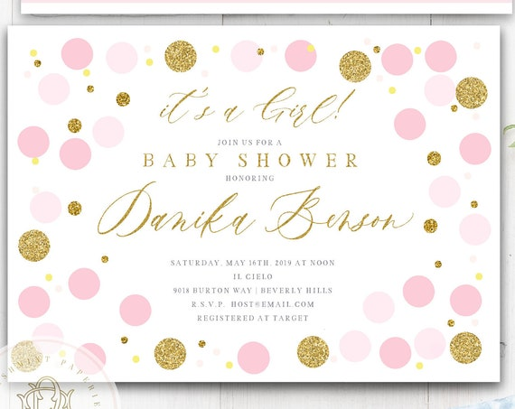 Confetti Baby Shower invitations Blush Pink & Gold Baby Shower Invitation Girl Glitter Polka Dots Modern Baby Sprinkle Invite