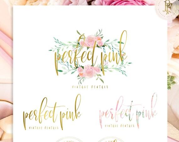 modern script logo - gold script logo - calligraphy logo - pretty logo - gold logo - logo design - freshmint paperie