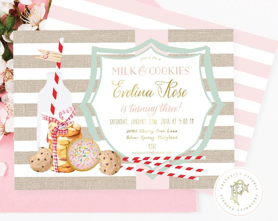 Milk & Cookies invitation, Pajama party invitation, Sleepover invitation, Cookie invitation, Milk and Cookies, Burlap,  Freshmint Paperie