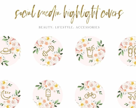 Instagram Story Highlight Icons - Blogger Instagram Story Covers, Floral watercolor Icons, Story cover, Instagram, social media icons, vol.3