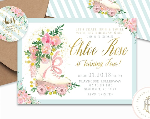 Roller Skating invitation | Roller Skate Birthday Invitation | Roller Skate | Winter Wonderland Invitation | Floral invitation