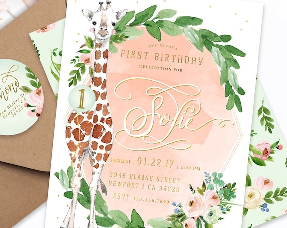 Giraffe invitation - First birthday invitation - Safari invitation - Zoo invitation - Jungle invitation - 1st birthday invite - the Big ONE