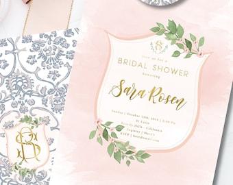 Crest invitation - leaf border invitation - bridal shower invitation - watercolor invitation - blue porcelain invitation - floral invitation