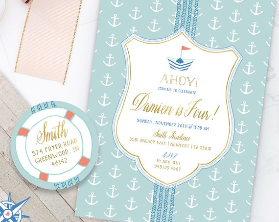 Nautical Invitation - Nautical Birthday Invitation - Nautical Birthday Party Invites - Sailor Invitation - Adventure Invitation - Anchor
