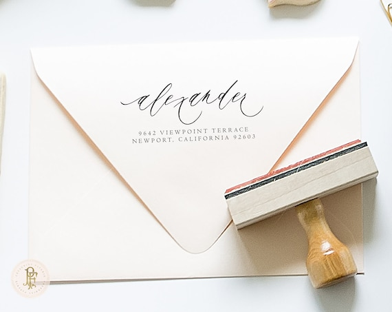 rubber stamp - calligraphy rubber stamp  - custom envelope stamp - return address stamp - envelope stamp