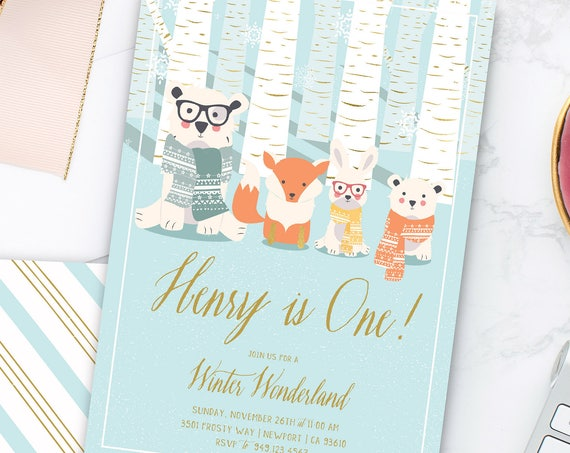 Winter onederland invitation | winter wonderland invitation | Woodland Animals invitation | first Birthday | Woodland invite