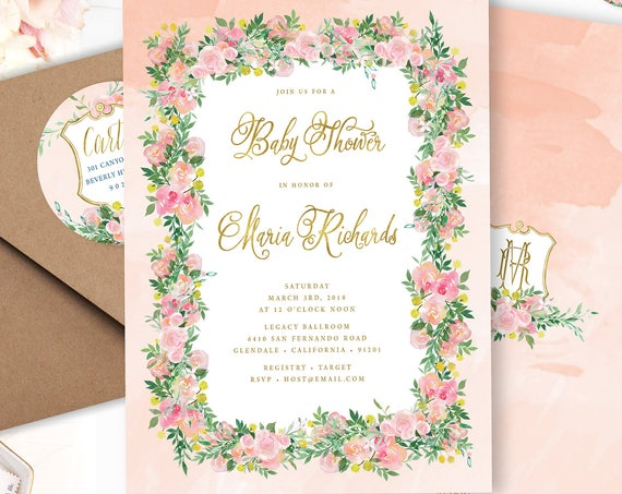 Watercolor floral invitation - baby shower invitation - Peach floral baby shower invitation - Watercolor flower invitations - floral wreath