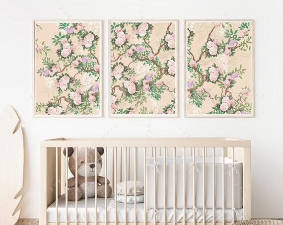 Set of 3 - Chinoiserie wall art, Cherry blossom Wall Art, Peony print, Chinoiserie print Wall Art, Floral tree wall art
