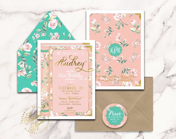 storybook invitation | floral invitation | first birthday | book invitation | girls invitation | storybook theme | freshmint paperie