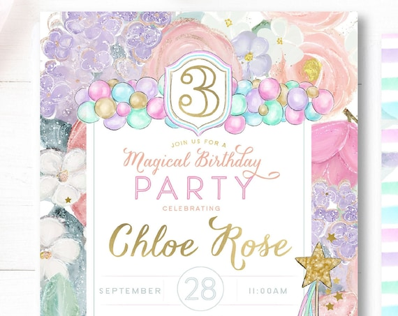 Magical invitation | Balloons birthday invitation | Balloon party | magical unicorn invitation | balloon party | magical invite