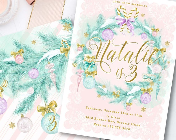 Winter ONEderland invitation | Sugarplum invitation | Ornament invitation | Christmas Birthday invitation
