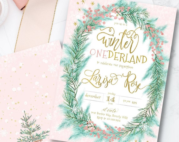 Winter ONEderland Invitation | Winter Wonderland Invitation | Pink Winter Onederland | Winter Onederland Birthday invitation