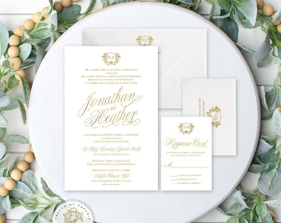 Classic Wedding Invitation | Wedding invitation | Gold foil Wedding Invitation | White & Gold Wedding invite | Elegant Wedding invitation