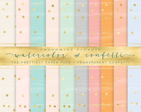 watercolor digital paper  - watercolor gold confetti paper - gold confetti pack - watercolor digital paper pack  - freshmint paperie