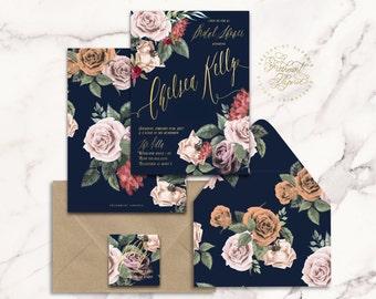 floral invitation - flower invitation - bridal shower invitation - watercolor invitation - baby shower - watercolor - freshmint paperie