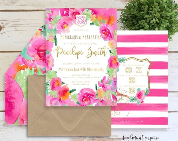 Monograms & Margaritas Bridal Shower Invitation, Fiesta, Monogram Bridal Shower Invite, Tropical Floral Margaritas, Digital or Printed