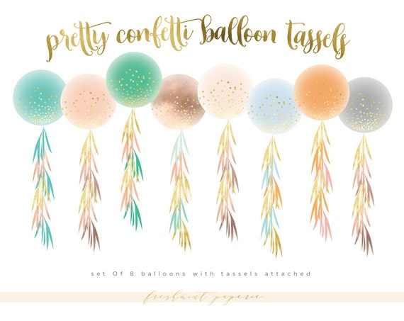 watercolor tassels clipart - watercolor garland clipart - tassel & garland clipart - confetti balloons clipart - freshmint paperie