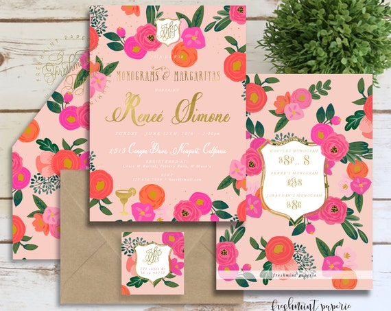 PInk FLowers BRidal SHower INvITATION, floral invitation - bridal shower cELEBRATION invitation - watercolor invitation - baby shower INvite