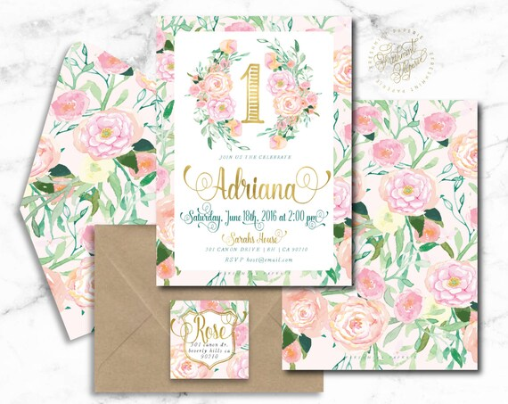 watercolor floral invitation - first birthday - the big one - watercolor invitation - girls birthday invitation - freshmint paperie