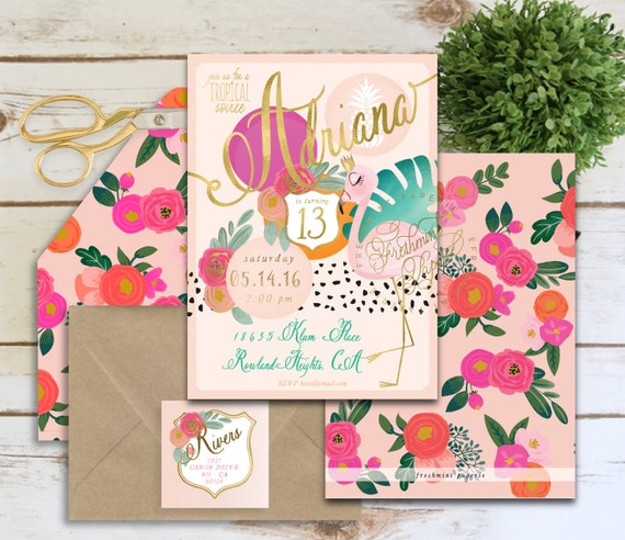 flamingo invitation - tropical soiree invitation - aloha invitation - hawaiian invitation - watercolor - freshmint paperie