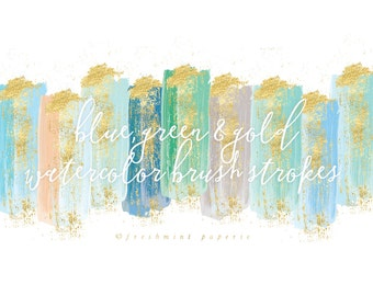 watercolor brush strokes clipart - gold brush clipart - paint clipart - aqua & gold brush strokes - watercolor clipart - freshmint paperie