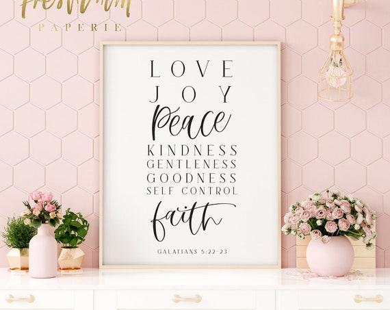 Bible Verse Print, Fruit of the Spirit, Love, Joy, Peace, Galatians 5 22, Christian Print, Christian Art, Bible Verse Art, Scripture Art