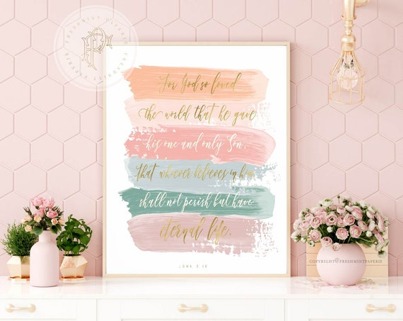 john 3:16  - bible verse - bible inspiration quotes - watercolor bible verse - JOHN 316 - freshmint paperie