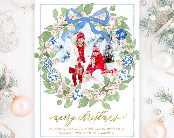 Chinoiserie Holiday Cards, Christmas card, Photo Christmas cards, Photo holiday cards, Pretty Holiday Cards, Chinoiserie ornaments