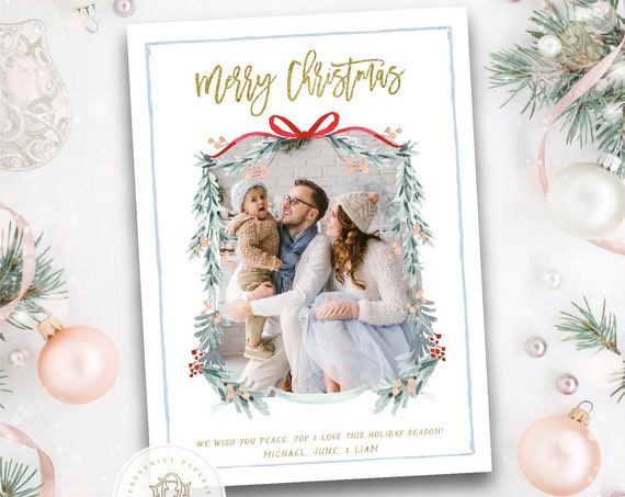 Printable Holiday Cards, Christmas card, Photo Christmas cards, Photo holiday cards, Pretty Holiday Cards, Pink floral