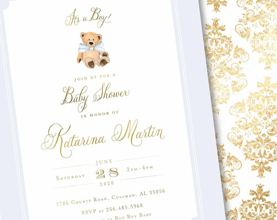 Teddy Bear invitation - baby shower invitation - Baby Blue teddy bear invitation - Vintage Teddy Bear invitation - Damask Invitation