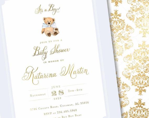 Teddy Bear invitation - baby shower invitation - Baby Blue teddy bear invitation - Vintage Teddy Bear invitation - Damask Invitation
