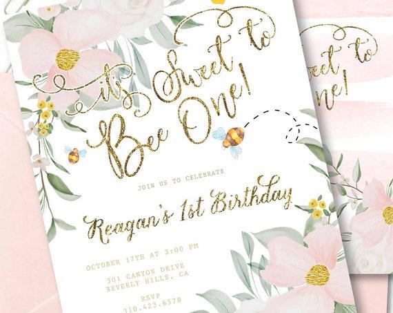 BEE invitation - Bee One invitation - Bee Birthday invitation - its sweet to bee One - Sweet Bee Invitation - First Birthday Invitation