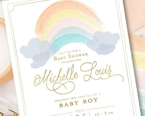 Rainbow invitation - Watercolor Rainbow - Baby Shower invitation - Rainbow baby invitation - Watercolor - Rainbows