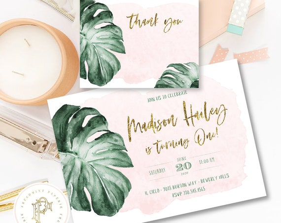 Tropical invitation, Beverly Hills Hotel invitation, Banana Leaf invitation, Tropical Birthday Invitation, Pink Watercolor, First Birthday