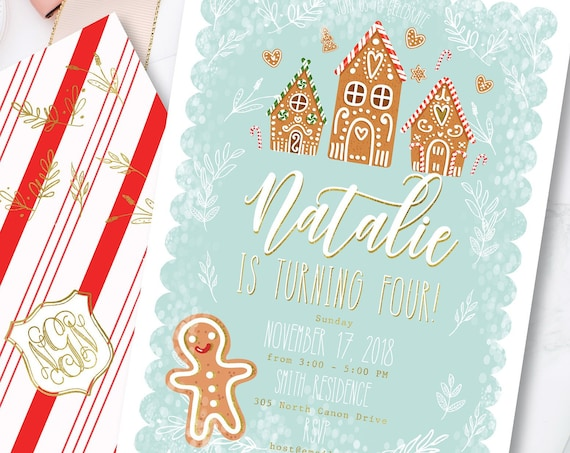 Gingerbread invitation | winter wonderland invitation | Snow invitation | Gingerbread House Birthday | Winter Wonderland Birthday invitation