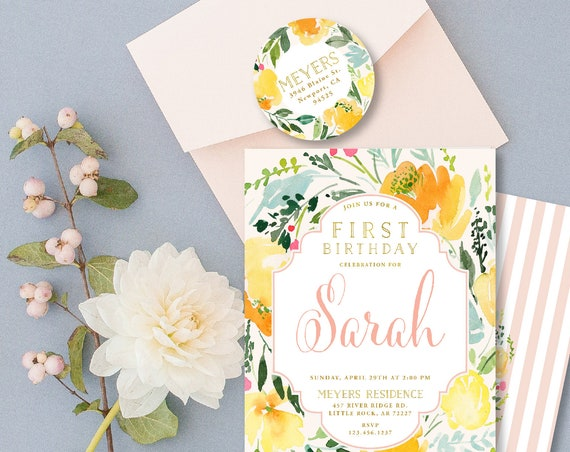 Floral Invitation - first birthday invitation - birthday invitation - watercolor invitation - freshmint paperie
