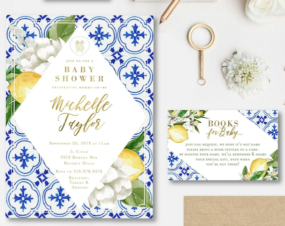 Lemon invitation - Citrus invitation - Baby Shower invitation - Porcelain lemon invitation - Mediterranean invite - Mediterranean Tile
