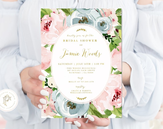 Bridal Shower invitations - Floral invitation - Baby Shower Invitation - watercolor floral invitation - blush & blue flowers