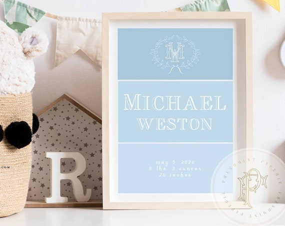 Custom Name wall art, Nursery wall art, Nursery Name wall art, Initial, Monogram, Boys nursery art , Kids room wall art, Baby shower gift
