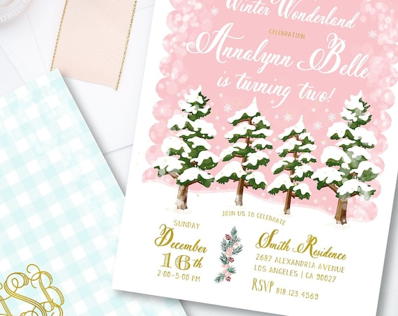 Winter onederland invitation | winter wonderland invitation | Snow invitation | first Birthday | Winter Wonderland Birthday invitation