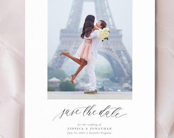 Modern Wedding Save the Date, Printed Save the Dates, Printable Save the Date Cards, wedding save the date, modern script