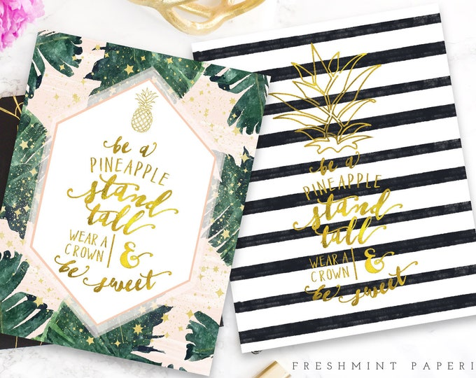Printable 8x10 pineapple quotes - pineapple art - 8x10 - watercolor art - calligraphy - freshmint paperie