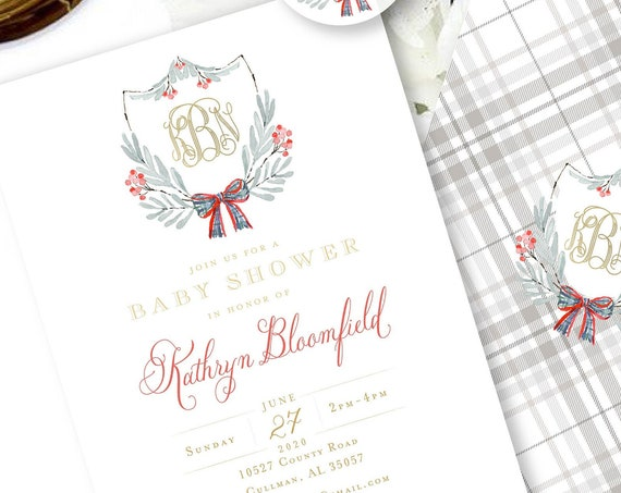 Holiday Baby Shower Invitation - Baby Shower Invitation - Holiday invitation - Wreath invitation - Monogram Christmas - Monogram
