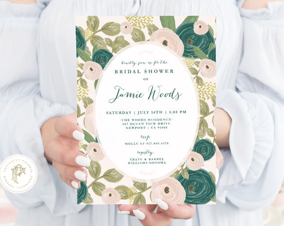 Bridal Shower invitations - Floral invitation - Baby Shower Invitation - Emerald invitation - Emerald flowers - Jewel tone invite