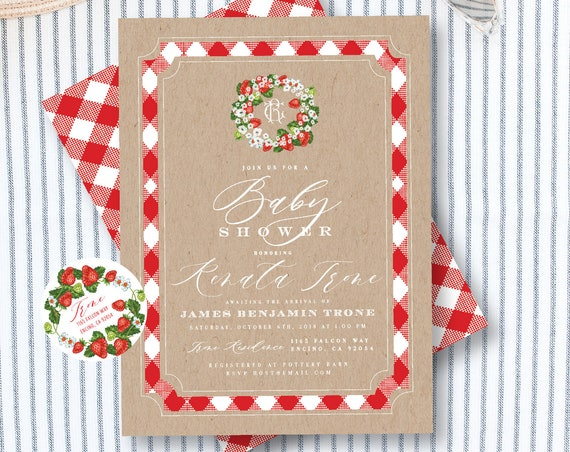 Strawberry invitation - Vintage Strawberry Invitation - baby shower invitation - Strawberry baby shower invitation
