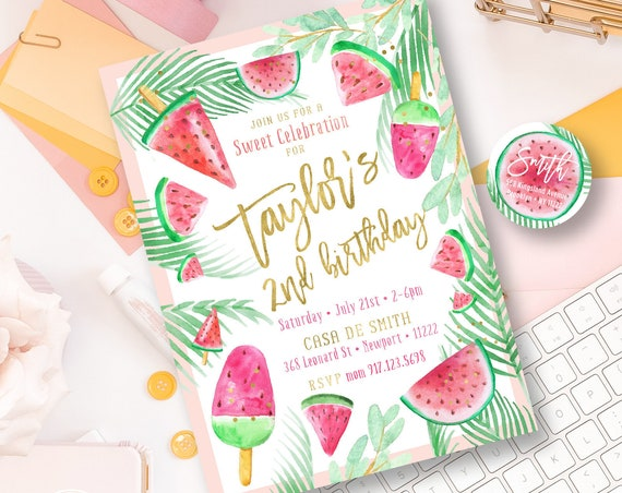 Watermelon invitation - Watermelon Birthday Invitation - One in a Melon Invitation - Watermelon Party invite - First Birthday - 1st birthday
