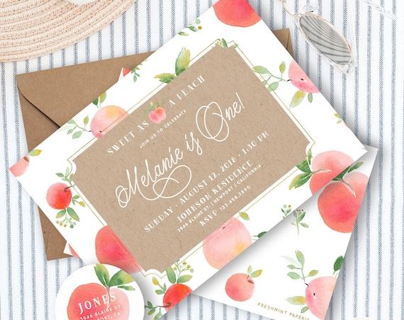 Peach invitation - sweet as a peach Invitation - summer peach Invitation - peach Invitation - Southern birthday invites - picnic invitation