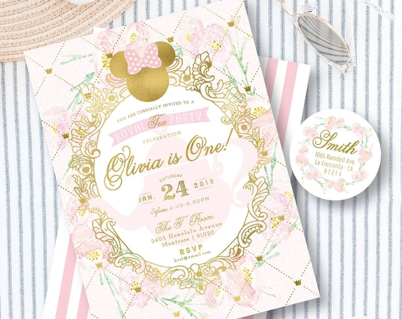 Minnie Tea Party invitation - Minnie Mouse Birthday - Minnie Party - Minnie Floral invitation - Minnie tea invitation
