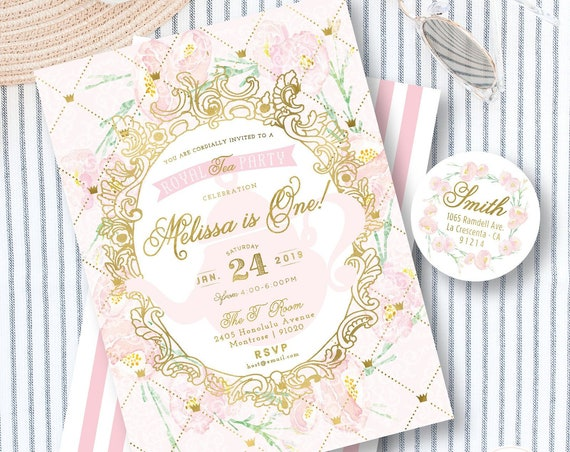 Tea Party invitation - High Tea Birthday - Hi Tea Party - Floral Tea Party invitation - Royal Tea Party Invite