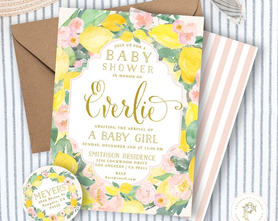 Lemon invitation, Lemon Floral invitation, Lemon baby shower invitation, Watercolor Lemon invitation, Citrus Baby Shower Invite, Pink Lemons
